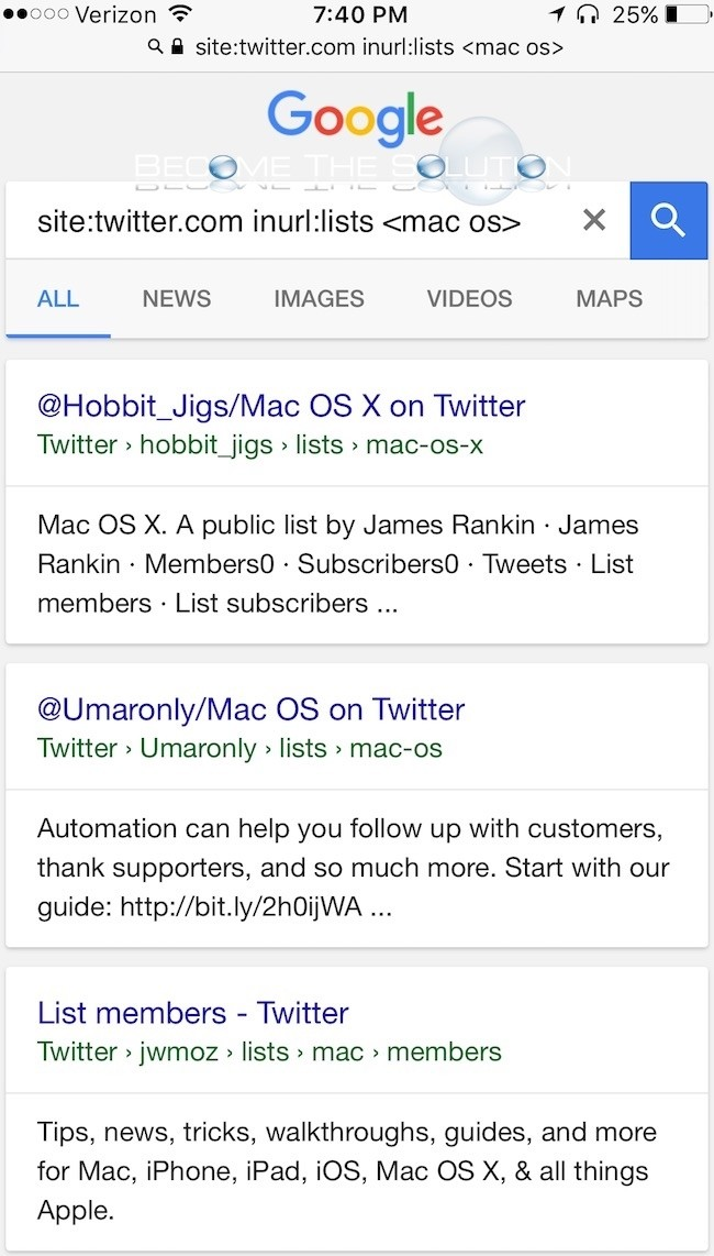 Google search results twitter lists