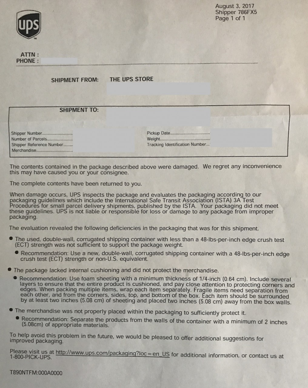 UPS claim form determination summary