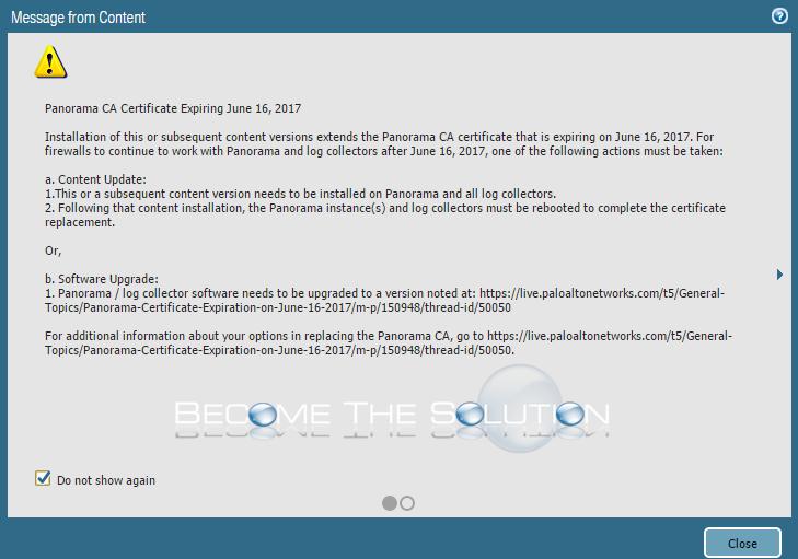Panorama CA Certificate Expiring