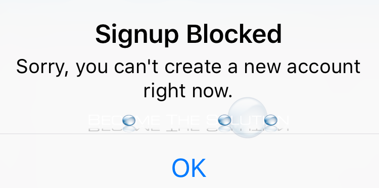 Instagram Signup Blocked Error