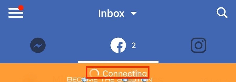 Facebook Page Manager App Orange Connecting Error