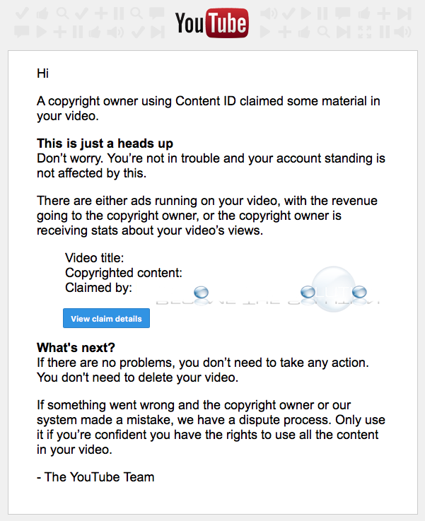 Youtube content ID copyright notice email