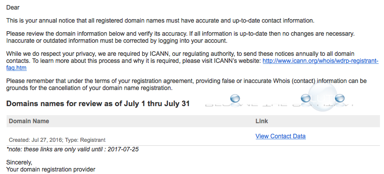 ICANN Annual Notice Domain Name Contact Whois Information