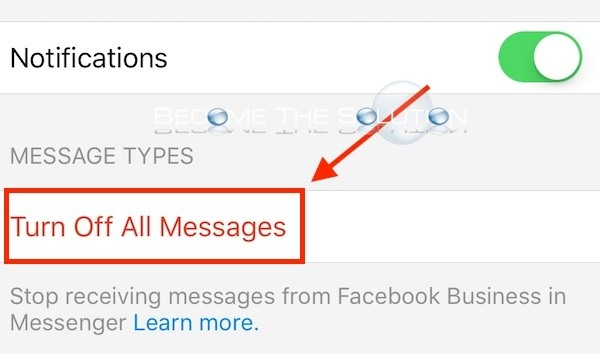 Facebook messenger turn off all messages