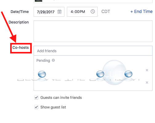 Facebook event co host admin