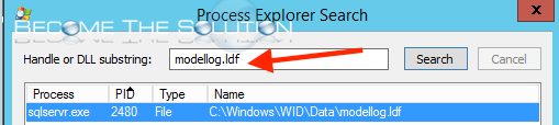 Process explorer find search