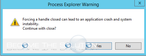 Process explorer warning