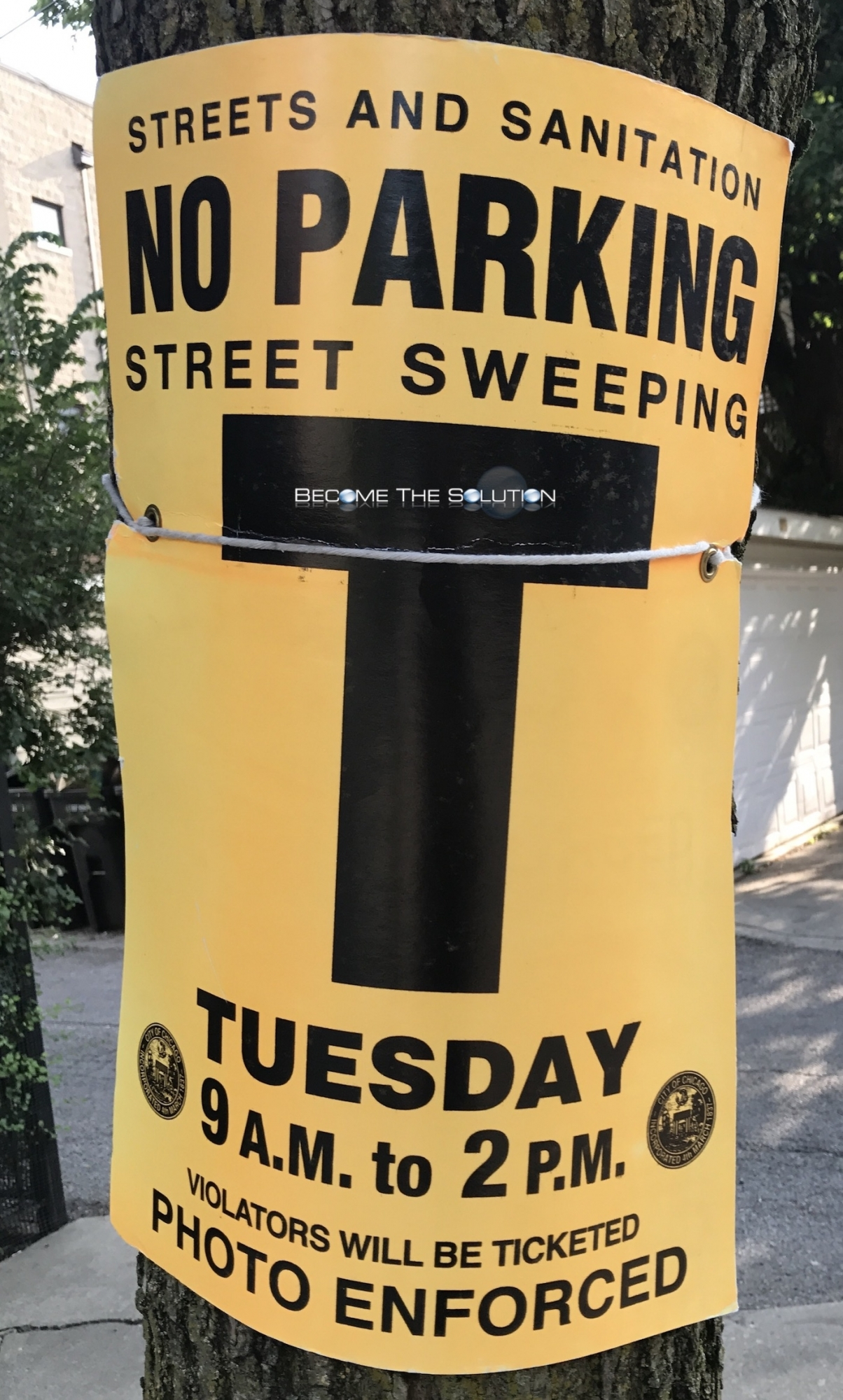 Chicago Streets and Sanitation No Parking Street Sweeping Tuesday Sign