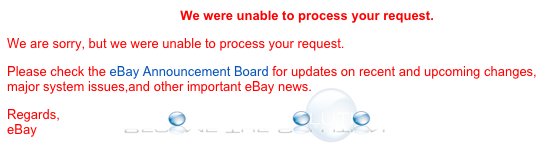 eBay We Were Unable to Process Your Request - Error
