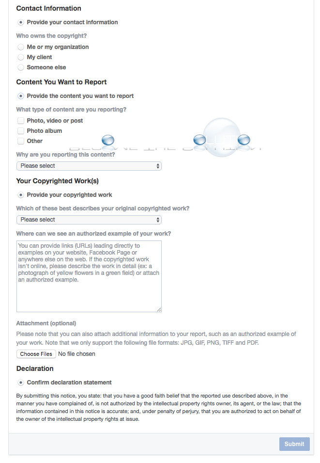 Find: Facebook Report Copyright Form – How to Report