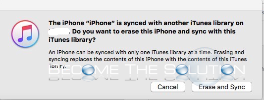 iPhone iTunes Sync With Another Library