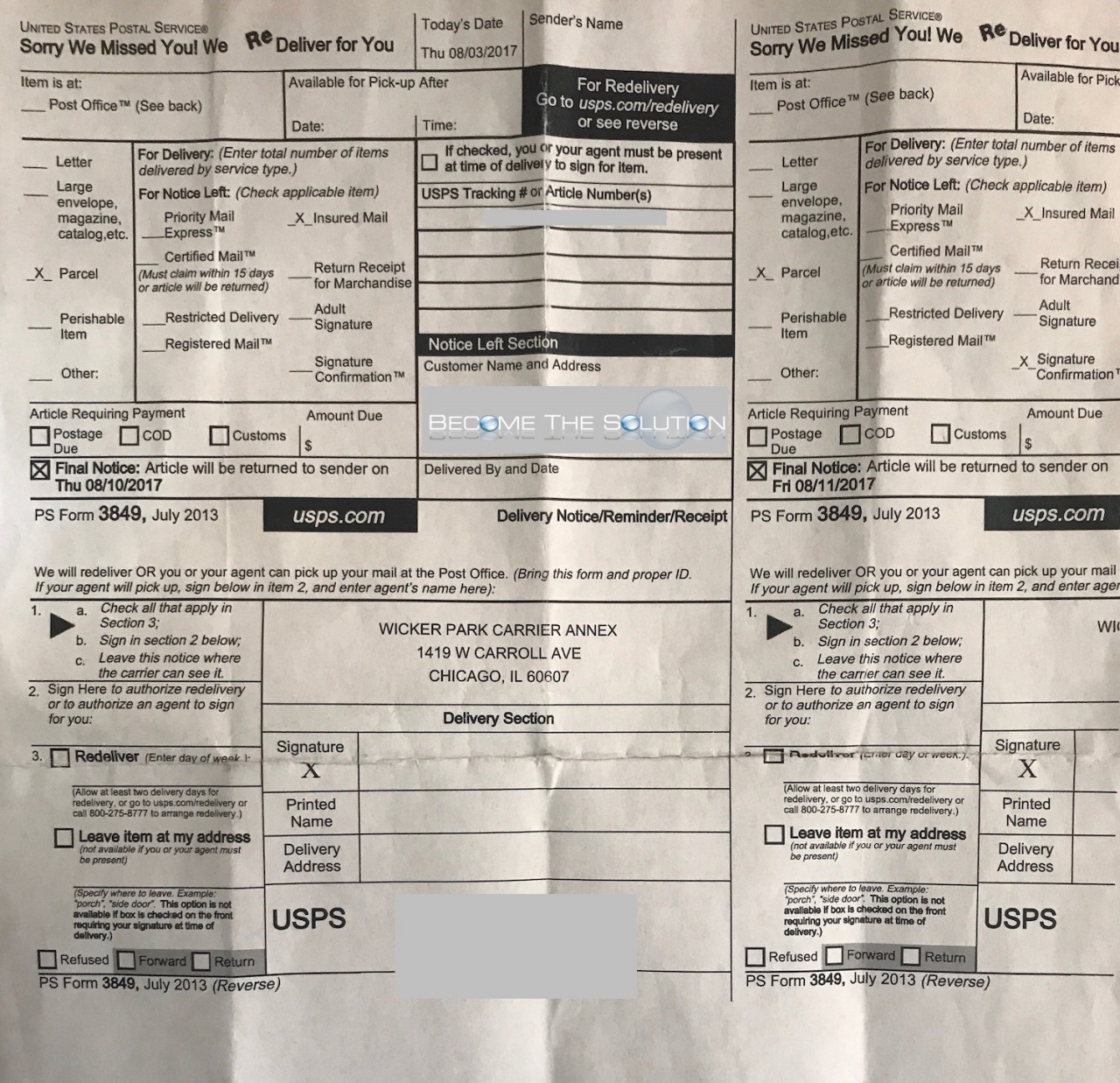 usps form 3849 notice left section in mailbox but package not at facility. Black Bedroom Furniture Sets. Home Design Ideas