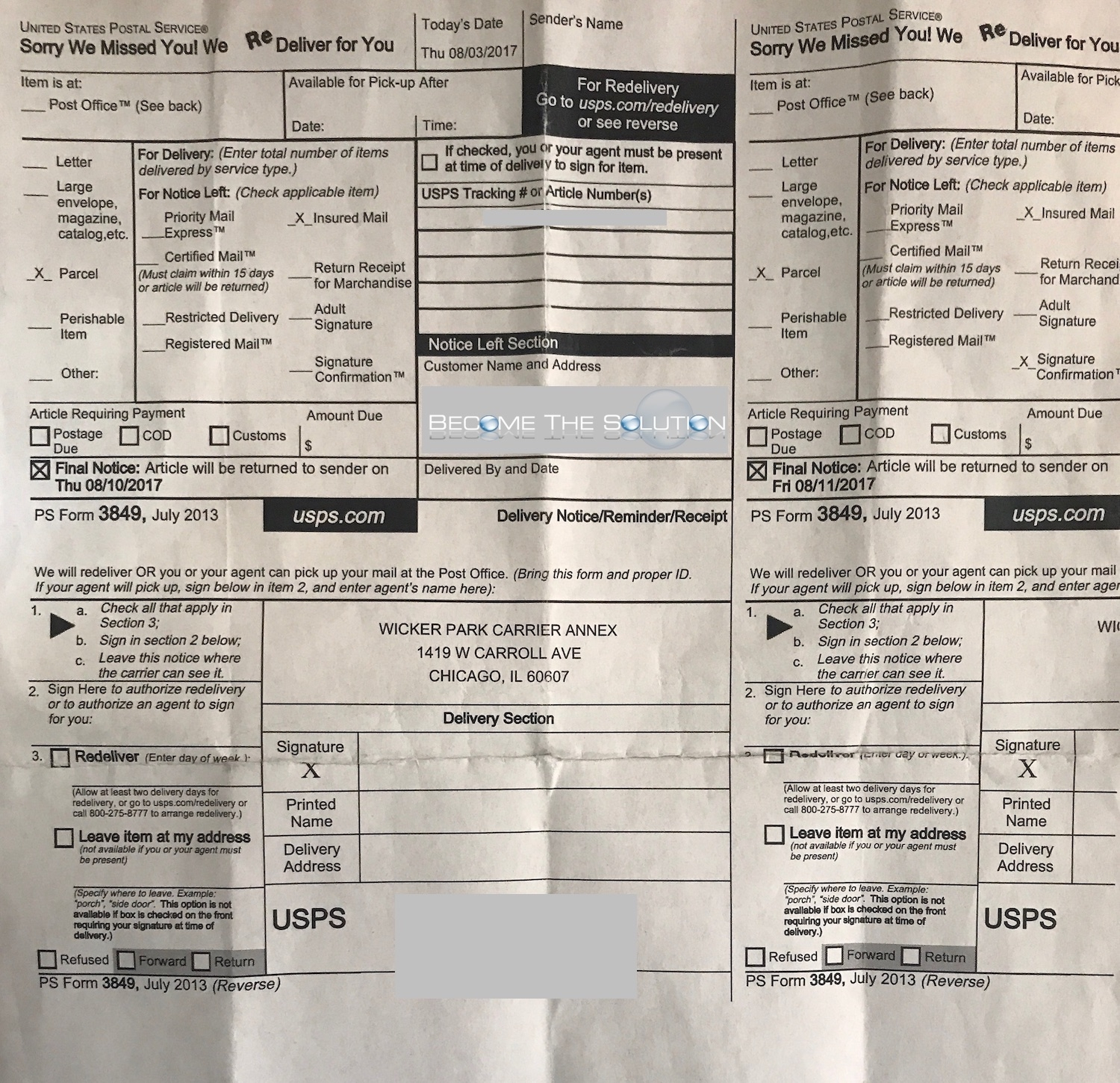 USPS Form 3849 Notice Left Section In Mailbox
