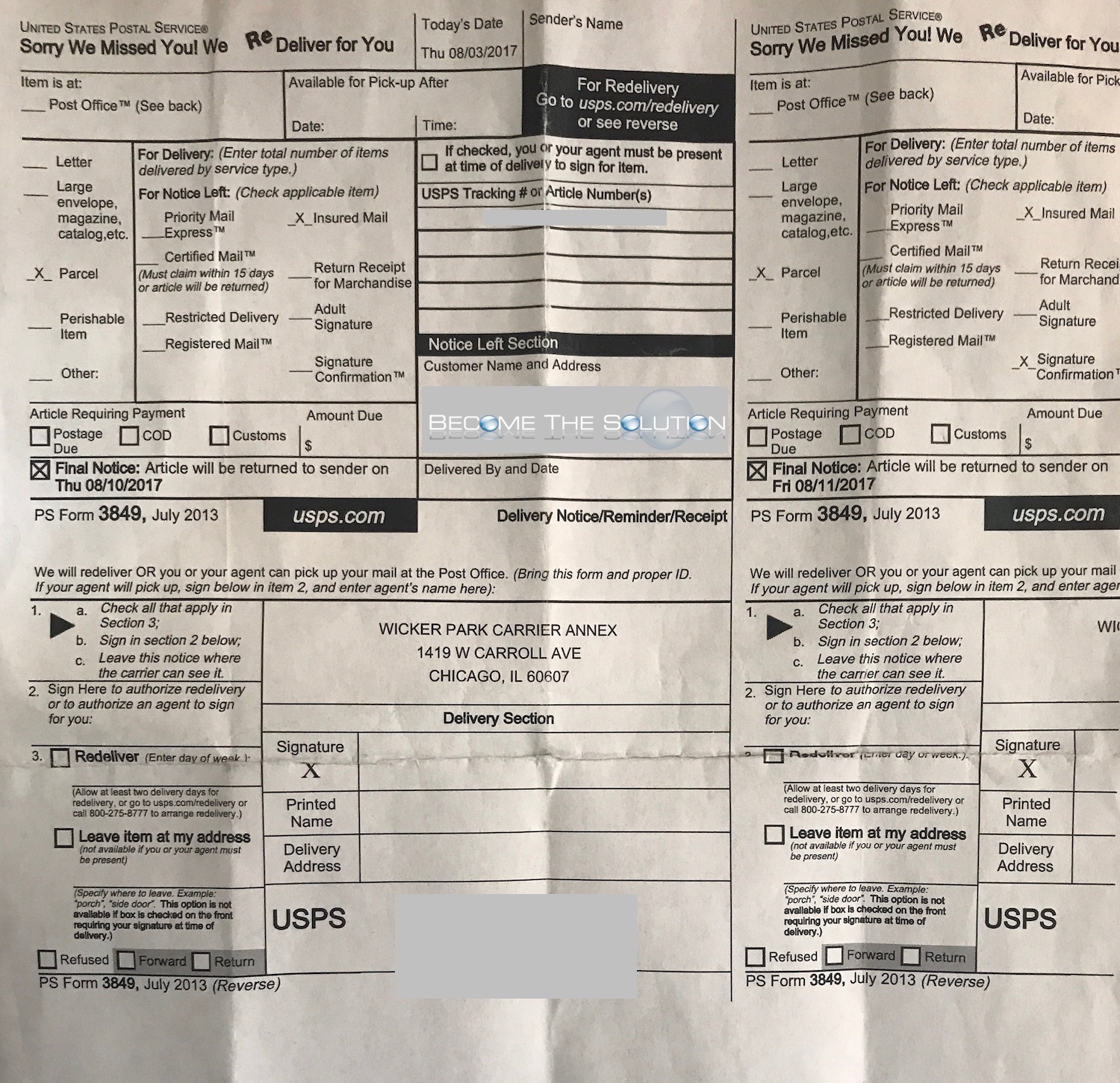 USPS Form 3849 Notice Left Section in Mailbox – But Package Not at