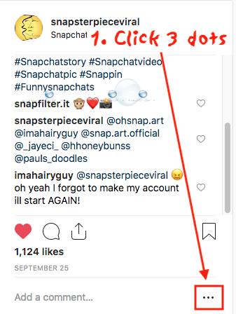Instagram delete comment desktop tripple 3 dots