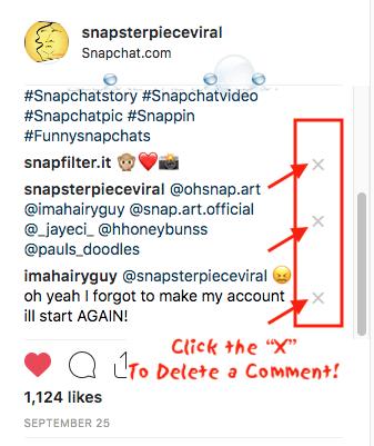 Instagram delete comment remove comments x