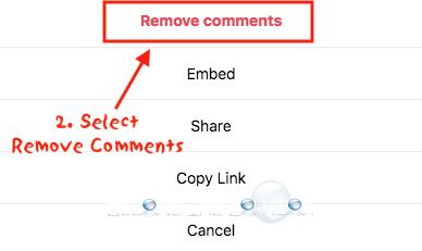Instagram delete comment remove