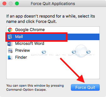 Mac os x force quit mail