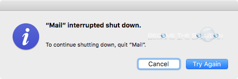 Mail Interrupted Shut Down Mac OS X