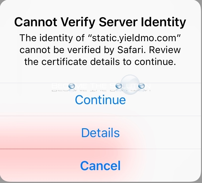 Cannot Verify Server Identity Safari static.yieldmo.com CNN