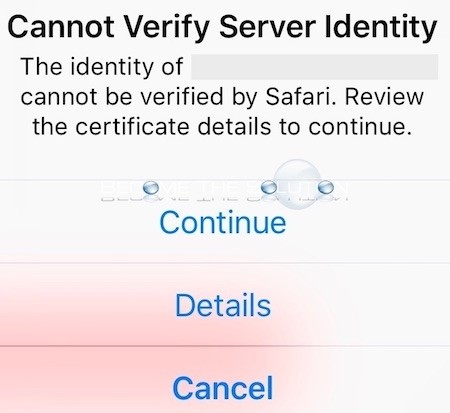 Cannot Verify Server Identity Safari iPhone