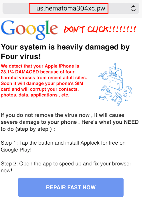 Your System is Heavily Damaged by Four Virus Phone