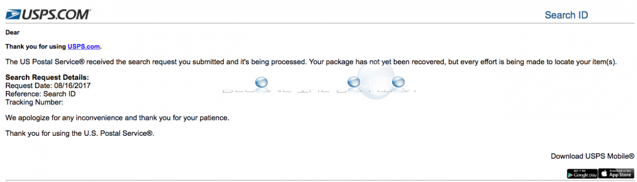 Usps package not yet recovered email update