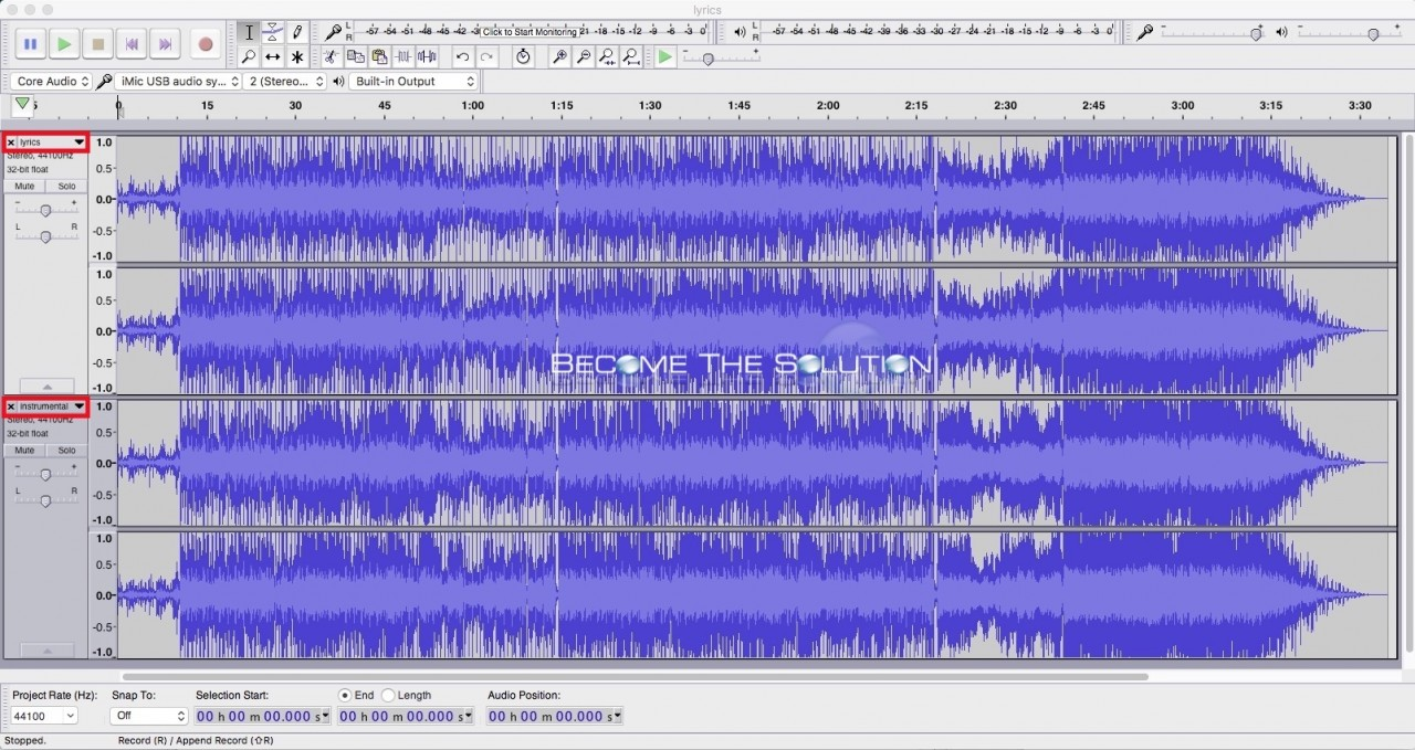 Audacity 2 songs same window