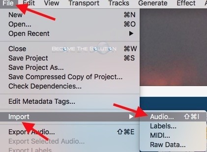 Audacity file import audio