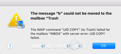 UID Copy Failed Mac OS X Mail