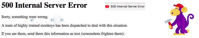 YouTube 500 Internal Server Error Fix