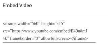 Youtube embed share code