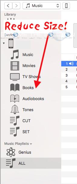 Change iTunes Sidebar Size