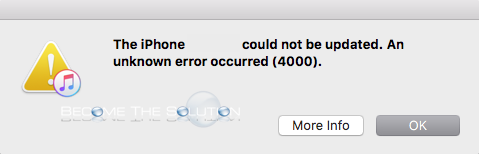 iPhone Could Not Be Updated Error 4000 iTunes