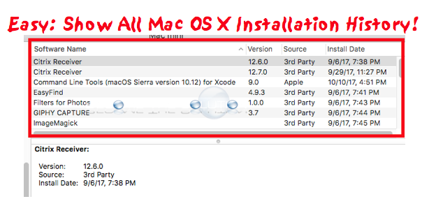 View Mac OS X Install History