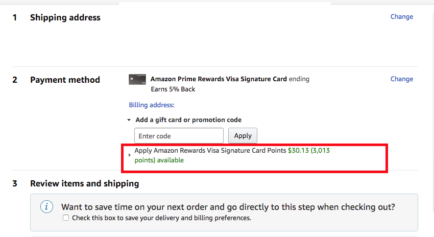 Amazon signature points balance