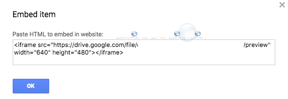 Google drive embed item iframe