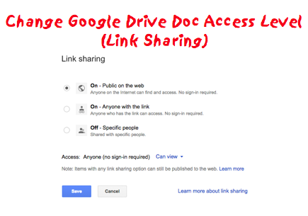 Fast: Change Access on Google Drive Document