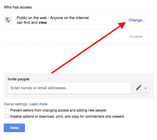 Google drive change access