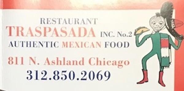 Traspasada Restaurant Menu Chicago