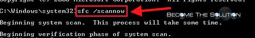 Windows sfc scannow command line