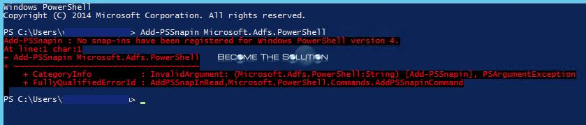 fix  add-pssnapin microsoft adfs powershell