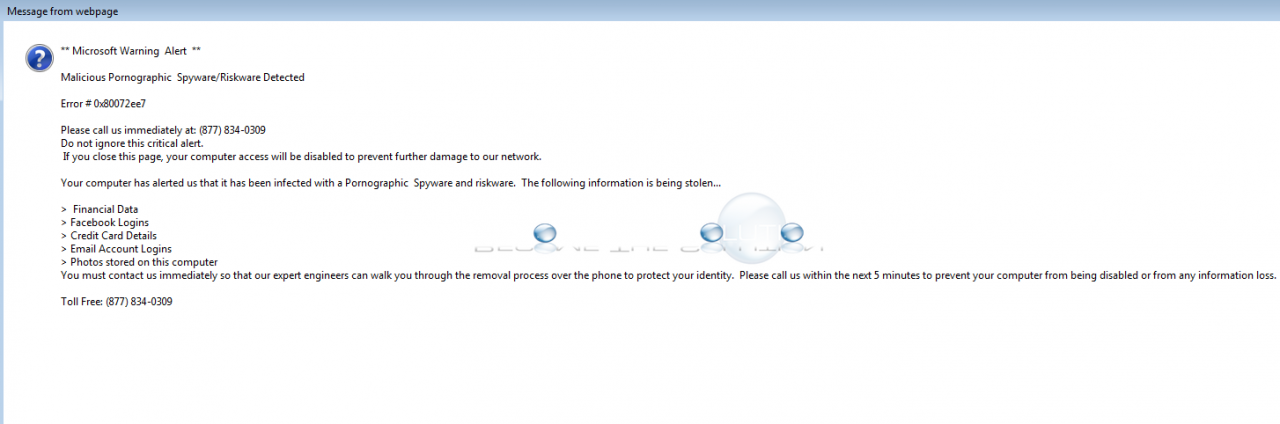 FIx: Malicious Pornographic Spyware/Riskware Detected Error # 0x80072ee7