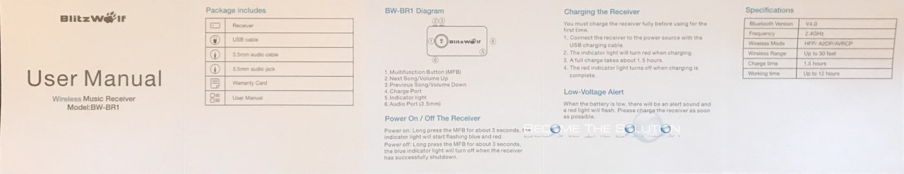 Blitzwolf bw-br1 bluetooth manual 1