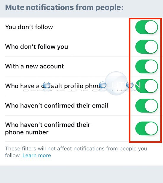 Twitter app advnaced filters notifications options
