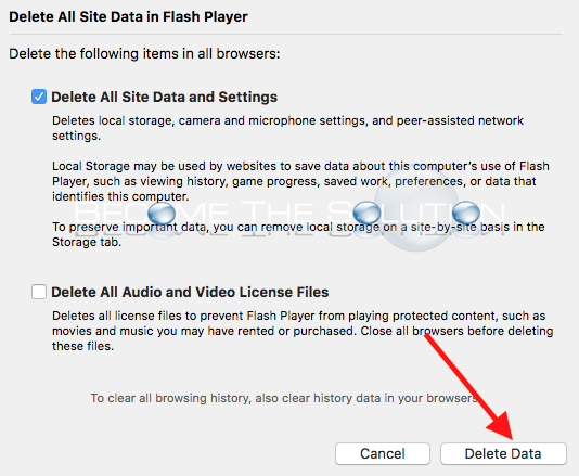 Mac ps x delete flash storage cache files