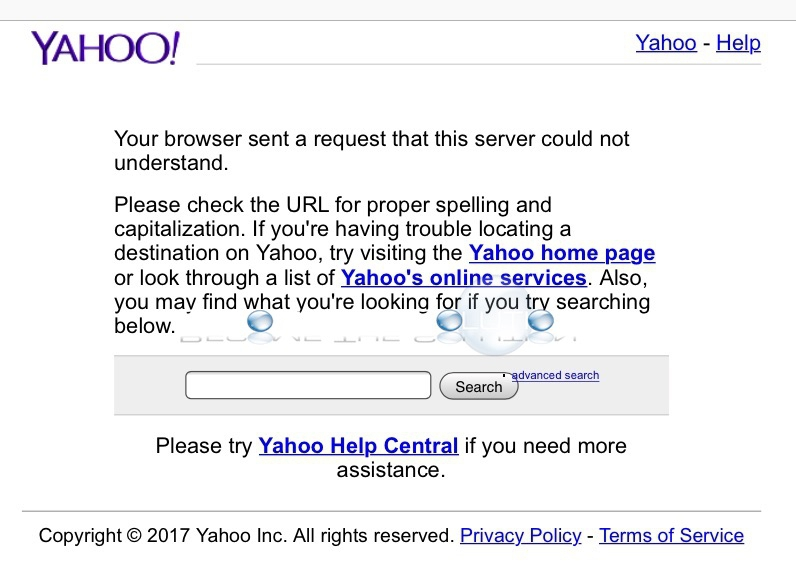 Your Browser Sent a Request That This Server Could Not Understand – Yahoo