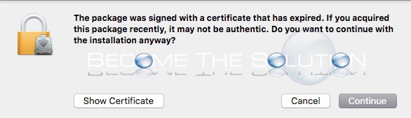 Why: The Package was Signed with a Certificate That Has Expired – Mac OS X