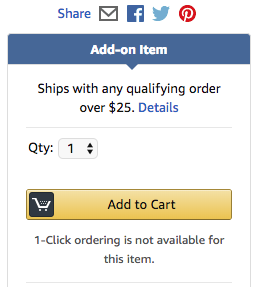 Amazon add-on item checkout screen