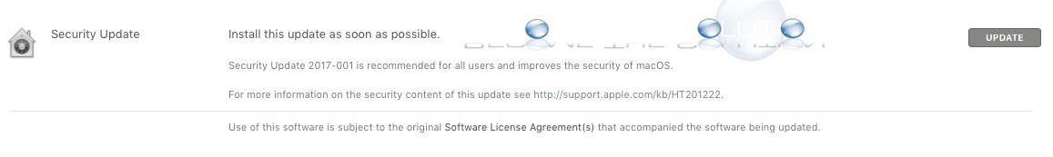 Install This Update as Soon as Possible – Apple Security Update 2017-001 - MacOS High Sierra